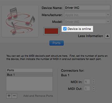 OS X IAC Driver Settings